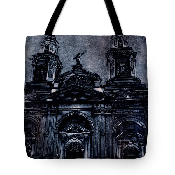Watercolor Painting Of The Neo-classical Facade Of The Cathedral Tote Bag