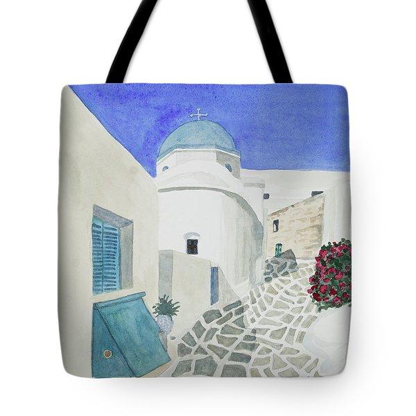 Watercolor - Paros Church And Street Scene Tote Bag