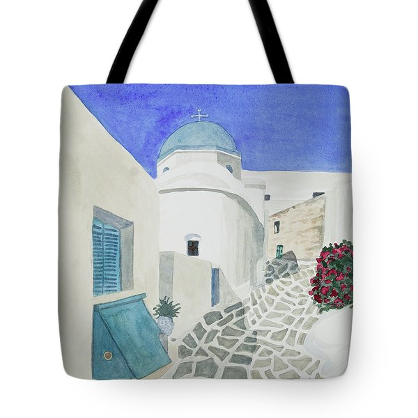 Watercolor - Paros Church And Street Scene Tote Bag