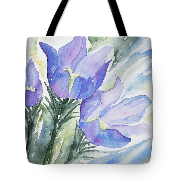 Watercolor - Pasque Flowers Tote Bag