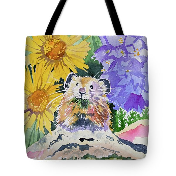 Watercolor - Pika With Wildflowers Tote Bag