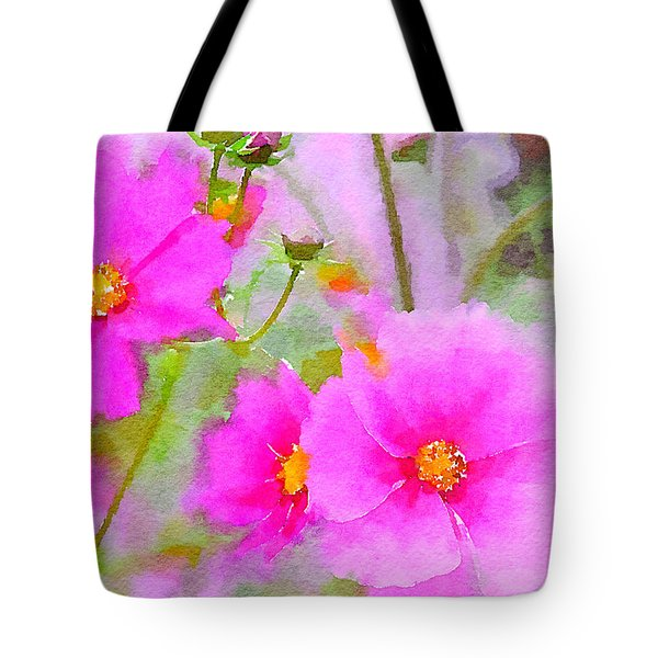 Tote Bag featuring the painting Watercolor Pink Cosmos by Bonnie Bruno