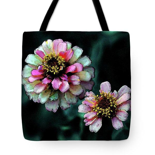 Watercolor Pink Zinnias And Smoke 2227 W_2 Tote Bag