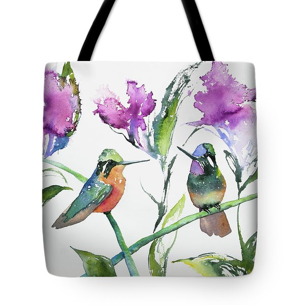 Watercolor - Purple-throated Mountain Gems And Flowers Tote Bag
