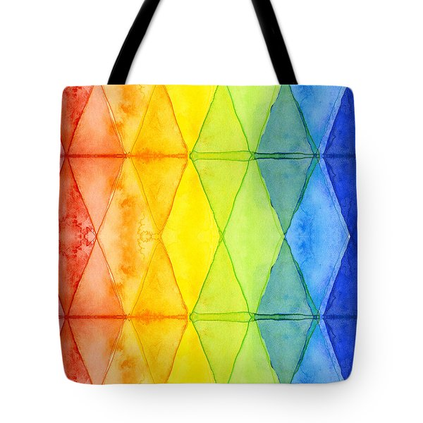 Watercolor Rainbow Pattern Geometric Shapes Triangles Tote Bag