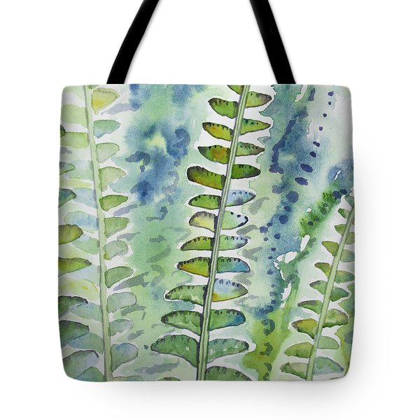 Watercolor - Rainforest Fern Impressions Tote Bag