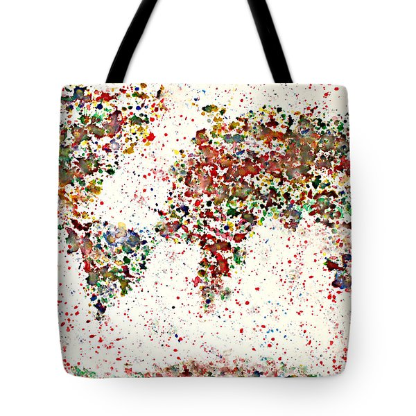 Watercolor Splashes World Map 2 Tote Bag by Georgeta  Blanaru