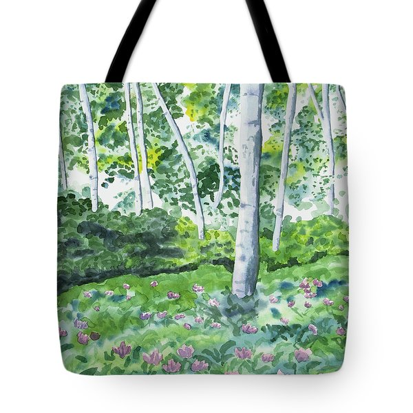 Watercolor - Spring Forest And Flowers Tote Bag