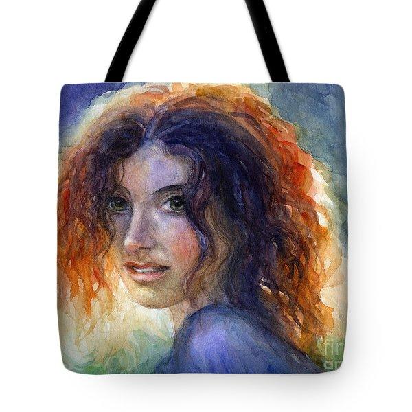 Watercolor Sunlit Woman Portrait 2 Tote Bag by Svetlana Novikova
