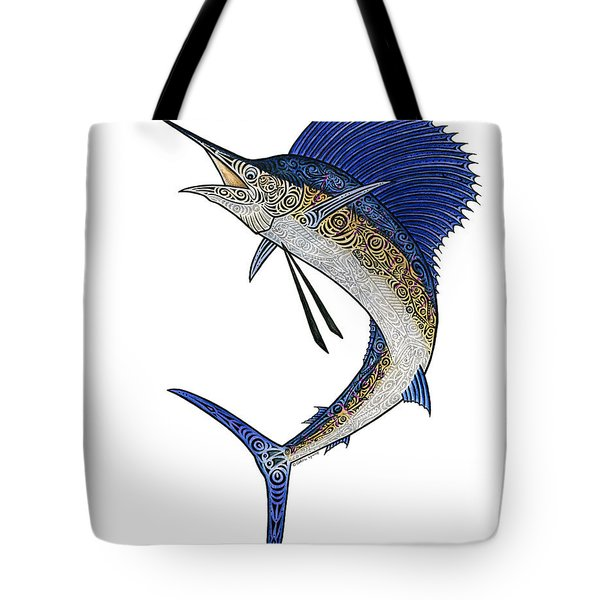 Watercolor Tribal Sailfish Tote Bag by Carol Lynne