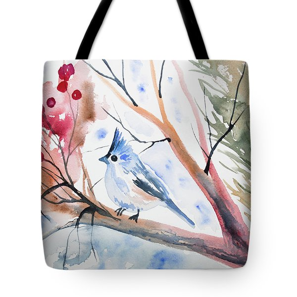 Watercolor - Tufted Titmouse With Winter Berries Tote Bag