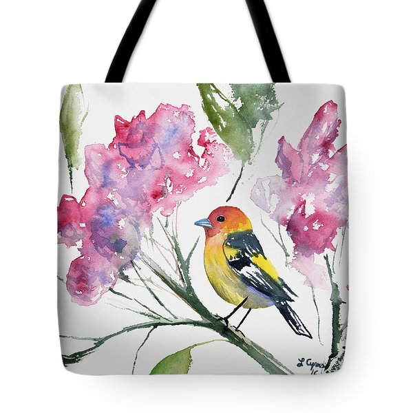 Watercolor - Western Tanager In A Flowering Tree Tote Bag