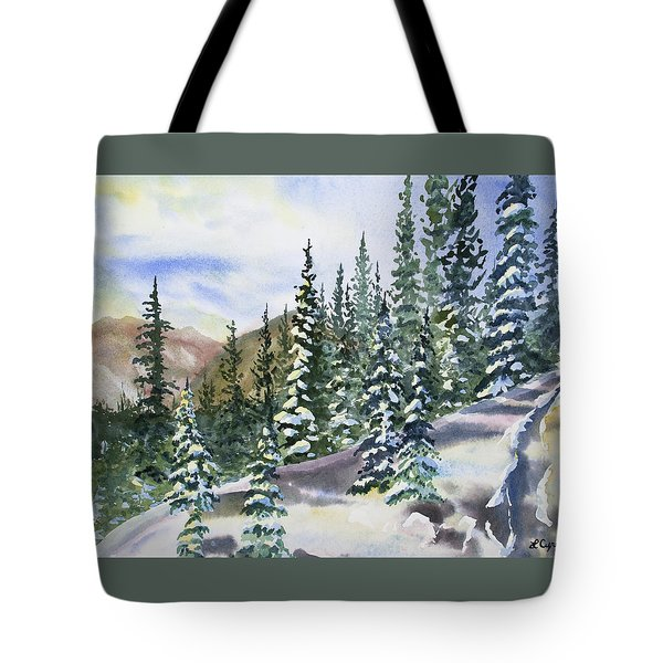 Watercolor - Winter Snow-covered Landscape Tote Bag