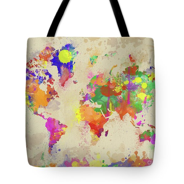 Watercolor World Map On Old Canvas Tote Bag