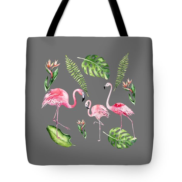 Tote Bag featuring the painting Watercolour Flamingo Family by Georgeta Blanaru