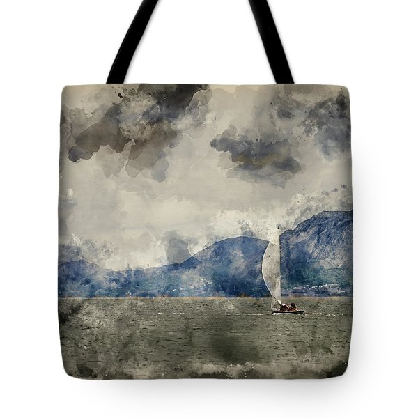 Watercolour Painting Of Small Sailing Boat On Menai Straits In Anglesey Wales. Tote Bag