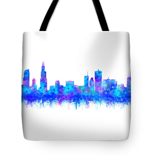 Tote Bag featuring the painting Watercolour Splashes And Dripping Effect Chicago Skyline by Georgeta Blanaru