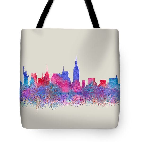 Tote Bag featuring the digital art Watercolour Splashes New York City Skylines by Georgeta Blanaru