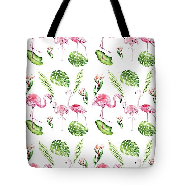 Tote Bag featuring the painting Watercolour Tropical Beauty Flamingo Family by Georgeta Blanaru