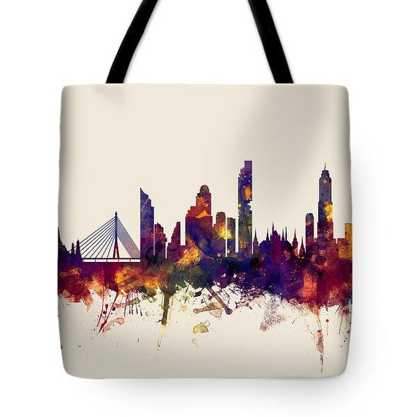 watercolour, watercolor, urban,  Bangkok, Bangkok skyline, bangkok cityscape, city skyline, thailand Tote Bag
