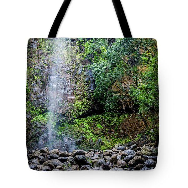 Waterfall And Flowers Tote Bag