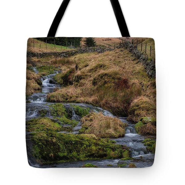 Tote Bag featuring the photograph Waterfall At Glendevon In Scotland by Jeremy Lavender Photography