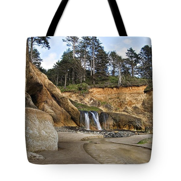 Waterfall At Hug Point State Park Oregon Tote Bag