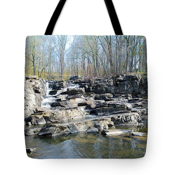 Tote Bag featuring the photograph Waterfall At Wickecheoke Creek by Bill Cannon