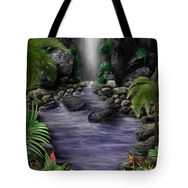 Tote Bag featuring the digital art Waterfall Creek by Mark Taylor