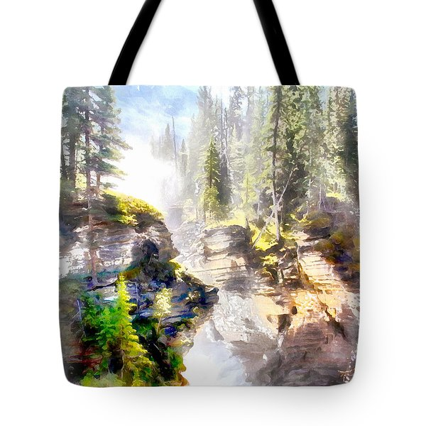 Tote Bag featuring the painting Waterfall by Elizabeth Coats