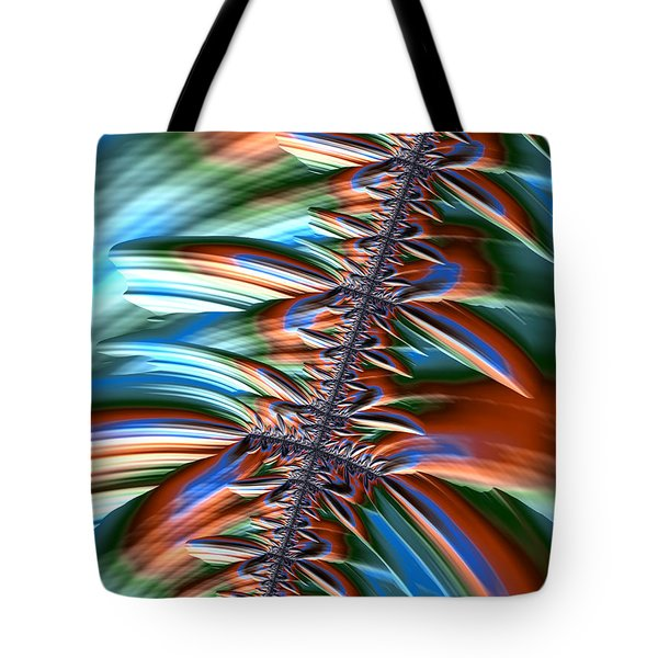 Tote Bag featuring the digital art Waterfall Fractal 2 by Bonnie Bruno