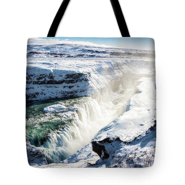 Tote Bag featuring the photograph Waterfall Gullfoss Iceland In Winter by Matthias Hauser