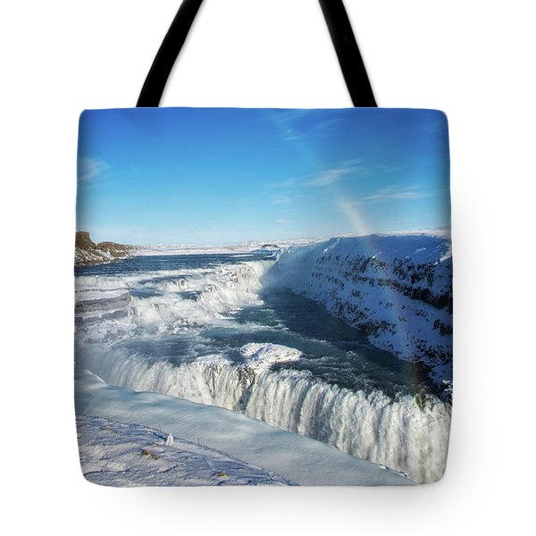 Tote Bag featuring the photograph Waterfall Gullfoss In Winter Iceland Europe by Matthias Hauser