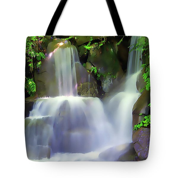 Tote Bag featuring the painting Waterfall by Harry Warrick