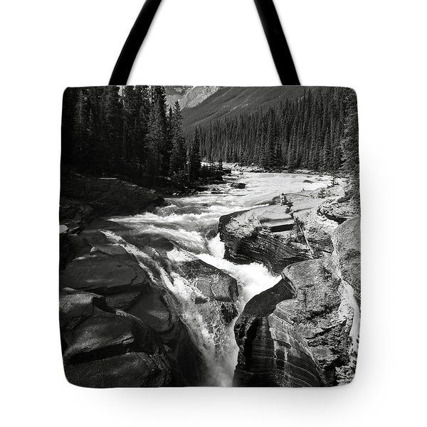 Tote Bag featuring the photograph Waterfall In Banff National Park Bw by RicardMN Photography