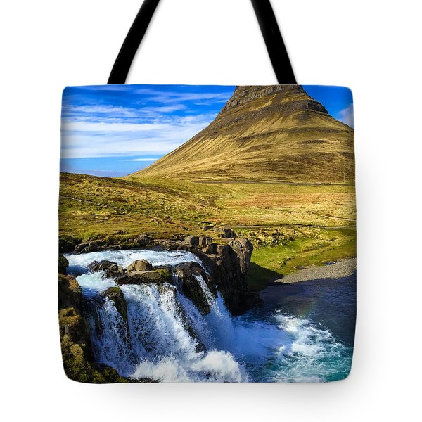 Waterfall In Iceland Kirkjufellfoss Tote Bag