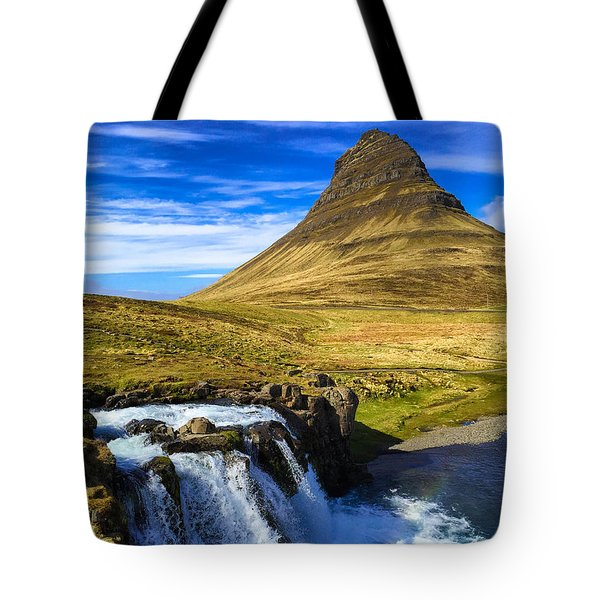 Waterfall In Iceland Kirkjufellfoss Tote Bag