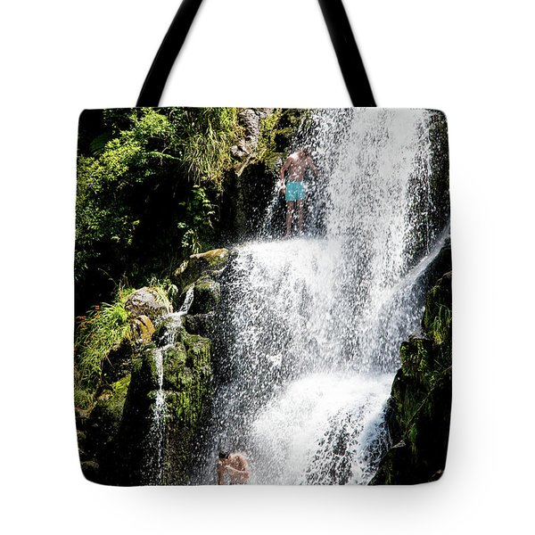 Waterfall In New Zealand Tote Bag