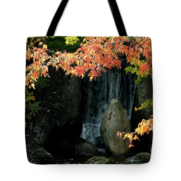 Waterfall In The Garden Tote Bag