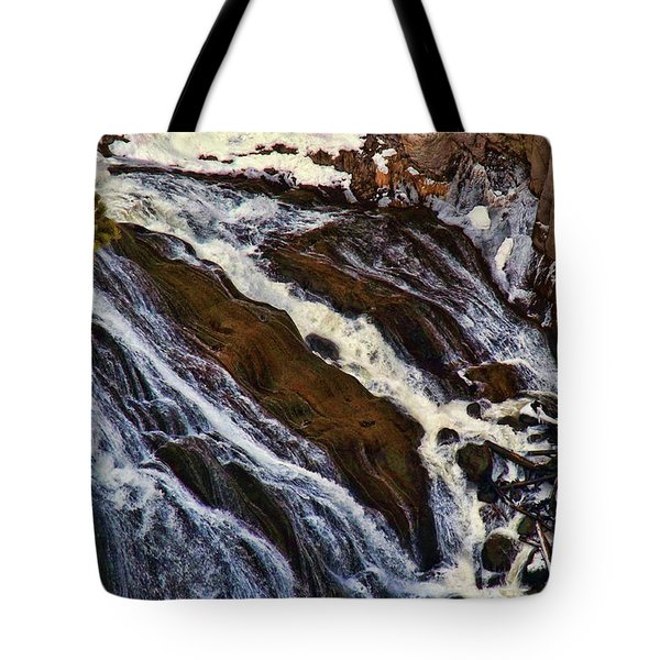 Waterfall In Yellowstone Tote Bag