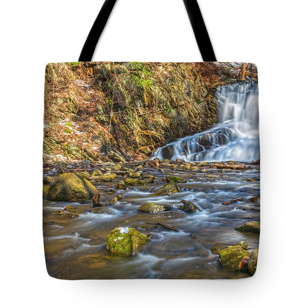 Waterfall Of April Snow Tote Bag