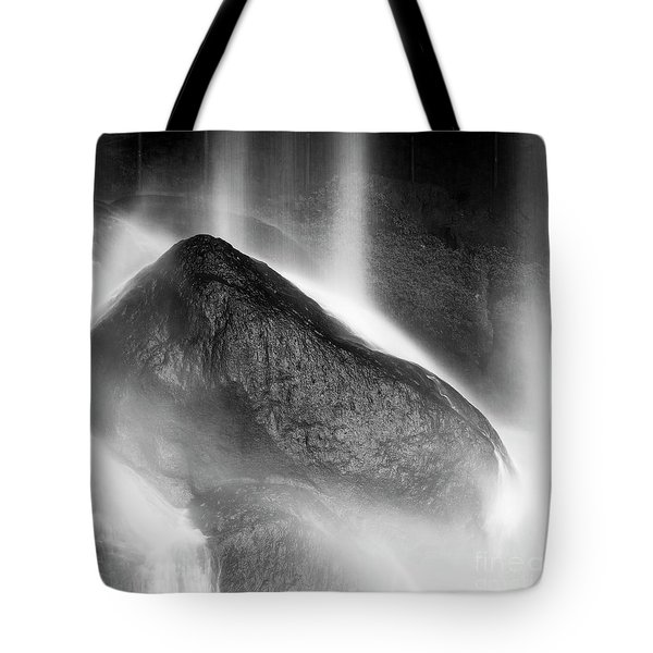 Tote Bag featuring the photograph Waterfall On Rocks At Misol Ha Black And White by Tim Hester