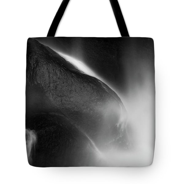 Tote Bag featuring the photograph Waterfall On Rocks Black And White by Tim Hester