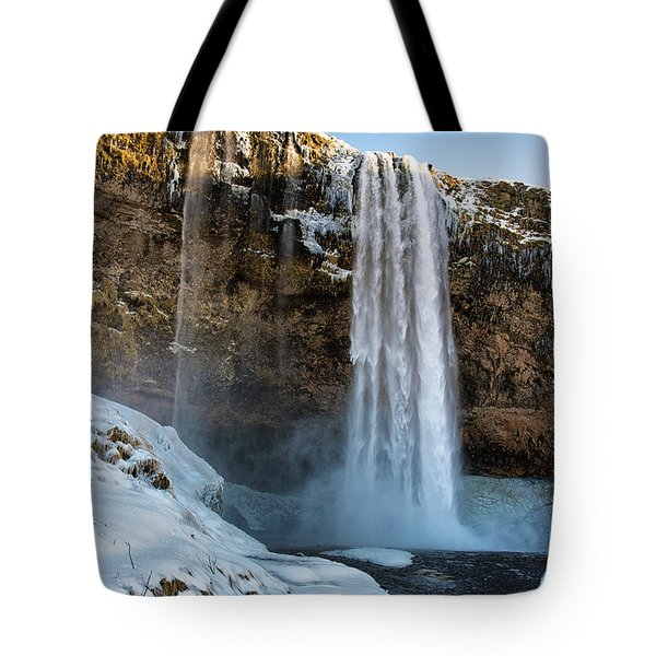 Tote Bag featuring the photograph Waterfall Seljalandsfoss Iceland In Winter by Matthias Hauser