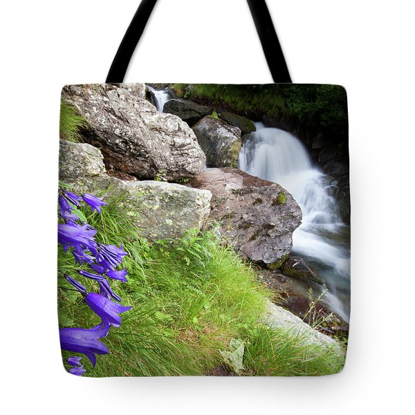 Waterfalls And Bluebells Tote Bag by Mircea Costina Photography
