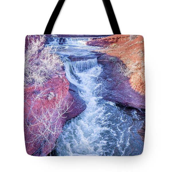 waterfalls at Colorado foothills aerial view Tote Bag