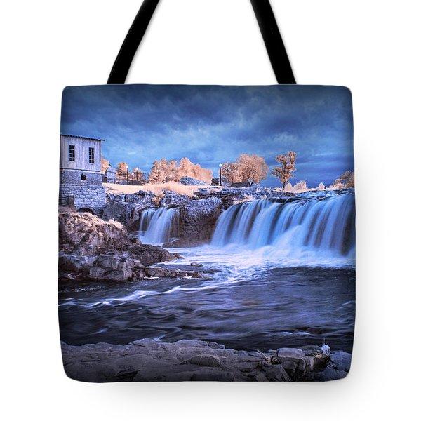 Waterfalls In Infrared At Falls Park In Sioux Falls South Dakota Tote Bag