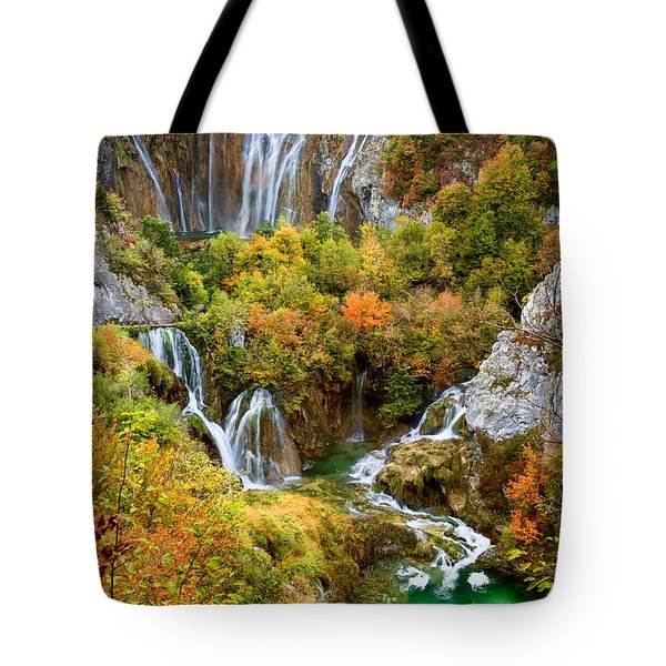 Waterfalls In Plitvice Lakes National Park Tote Bag