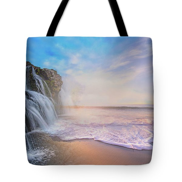 Waterfalls Into The Ocean Tote Bag
