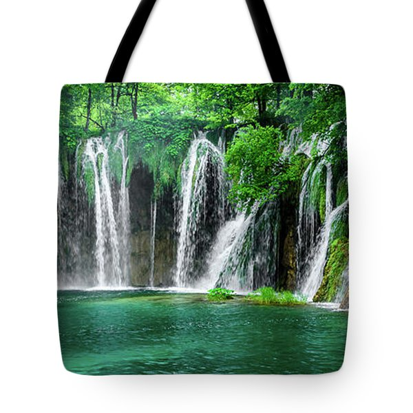 Waterfalls Panorama - Plitvice Lakes National Park Croatia Tote Bag